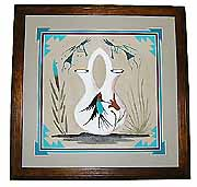 Navajo Framed and Matted Wedding Vase Sand Painting