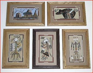 Navajo Framed and Matted Assorted Sand Paintings