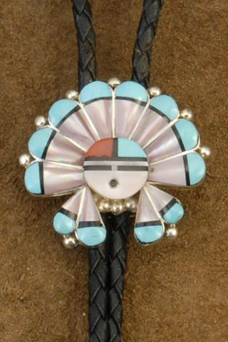 God's Eye Turquoise Coral Jet Pink Shell Sterling Silver Bolo Tie