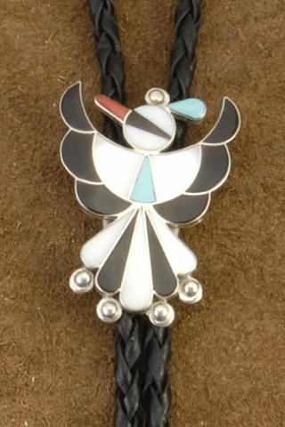 Zuni Traditional Thunderbird Genuine Sleeping Beauty Turquoise Jet Coral Mother of Pearl Sterling Silver Bolo Tie