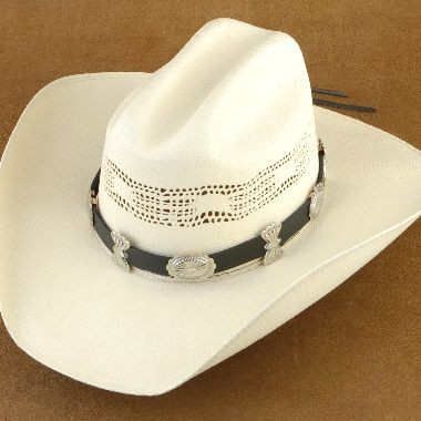 Silver Concho & Black Leather Hat Band