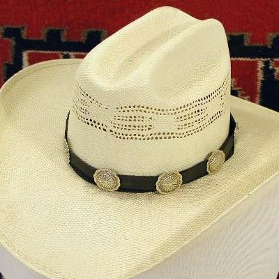 Navajo Silver Concho Leather Hat Band