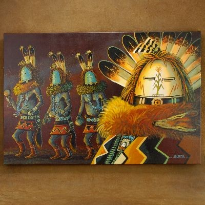 Yei Bi Chei Dancers Navajo Painting Gicl�e Print by JC Black