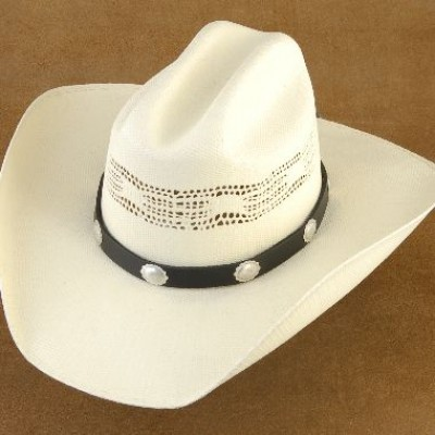 Navajo Sterling Silver Scalloped Concho Black Leather Hat Band