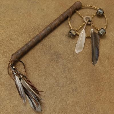 Native American Buckskin Four Corners Medicine Wheel Rain Stick Rattle.