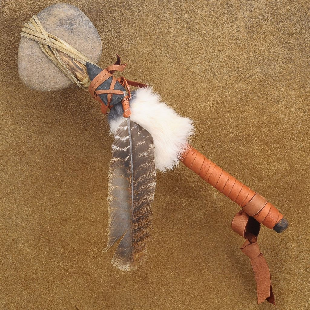 Leather, Fur and Feathered War Club With Arrowhead