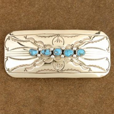 Genuine Turquoise Gold Traditional Hair Barrette