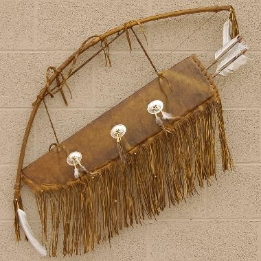 Plains Indian Buckskin Bow Quiver & Arrow Set with Silver Conchos