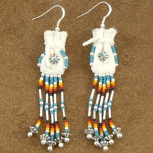 Blue Beaded Buckskin Traditional Medicine Bag Earrings by Veronica Begay