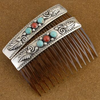 Turquoise Coral Silver Hair Comb Barrette Set