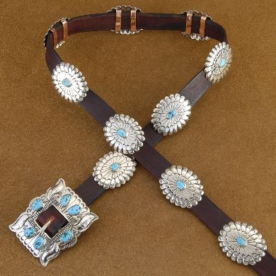 Traditional Navajo Silver Concho Leather Hat Band