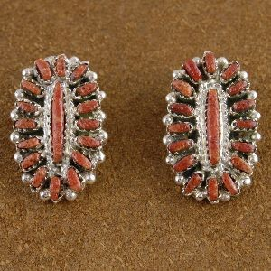 Signed Zuni Coral Clip On Earrings