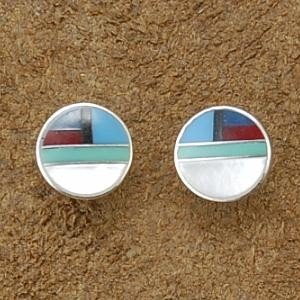 Inlaid Turquoise Coral Sterling Silver Post Earrings