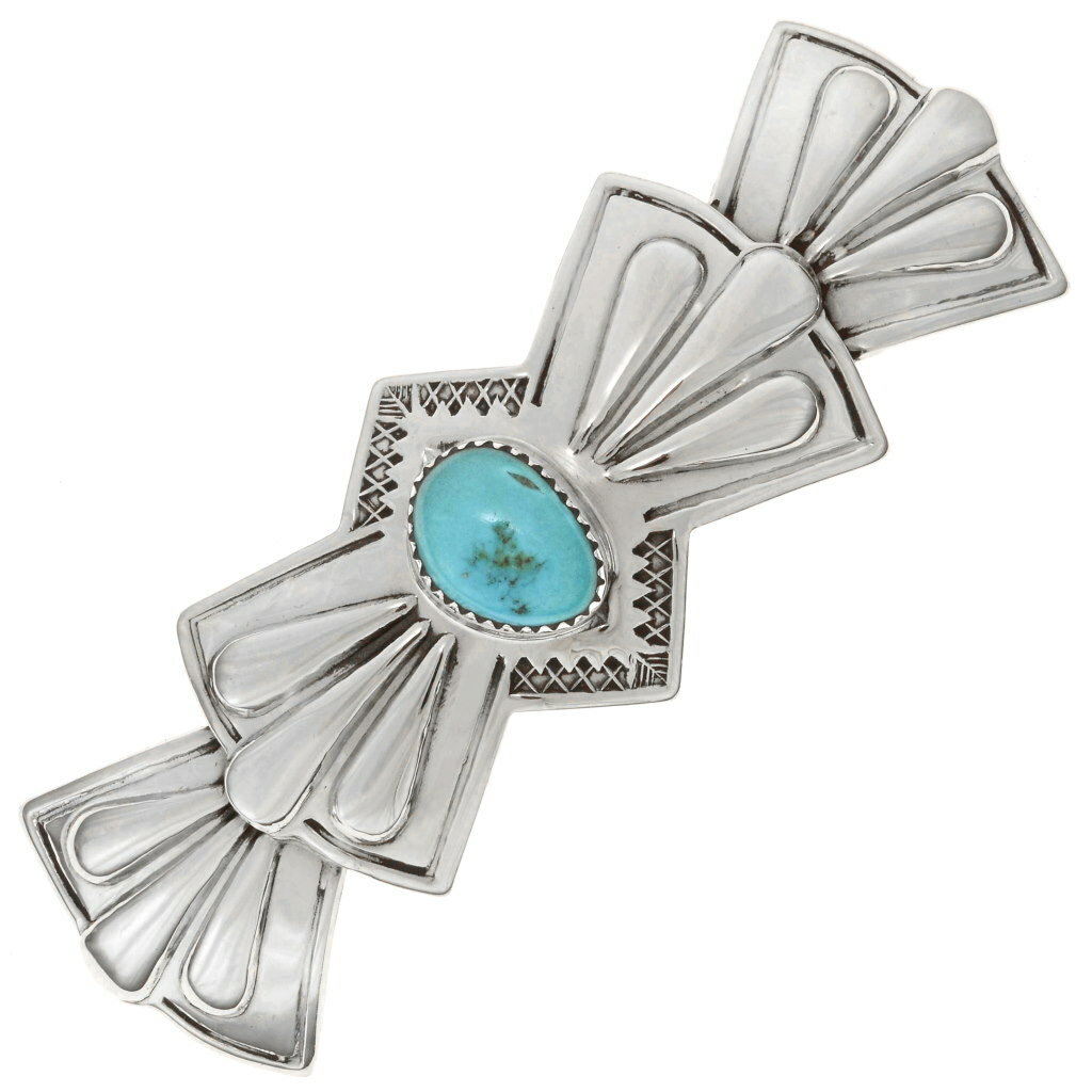 TURQUOISE SILVER Hair Barrette