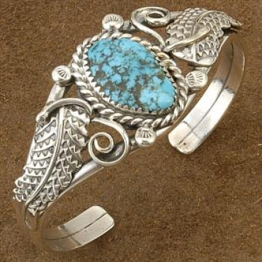 Sterling Silver with Turquoise Nuget