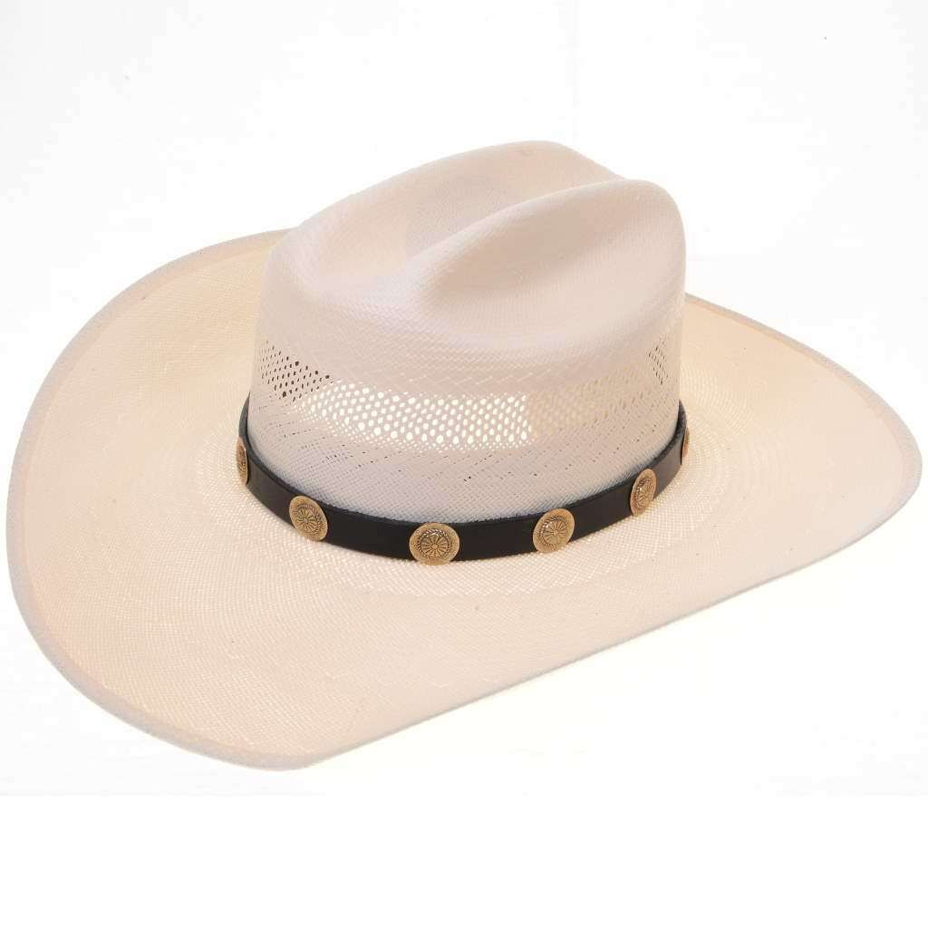 Jeweler's Gold Scalloped Concho Black Leather Hat Band