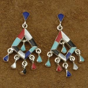 Inlaid Multi Gemstone Turquoise Sterling Silver Diva Chandelier Earrings