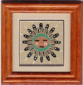 Navajo Framed and Matted Sunface Sand Painting
