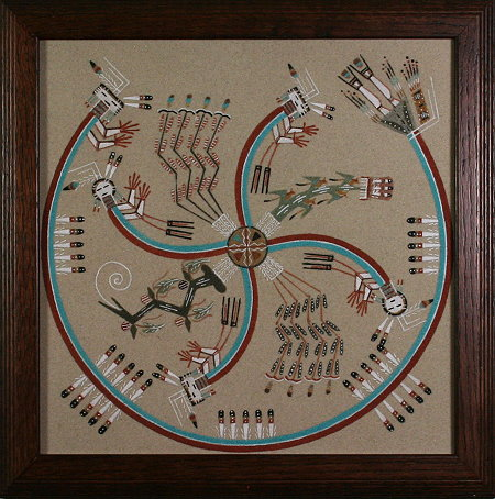 Framed Whirling People Sand Painting
