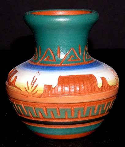 Navajo Etchware Desert Monuments Fat Belly Vase
