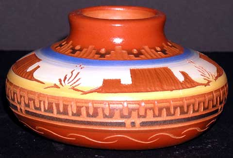 Navajo Etched Desert Monuments Smoke Pot