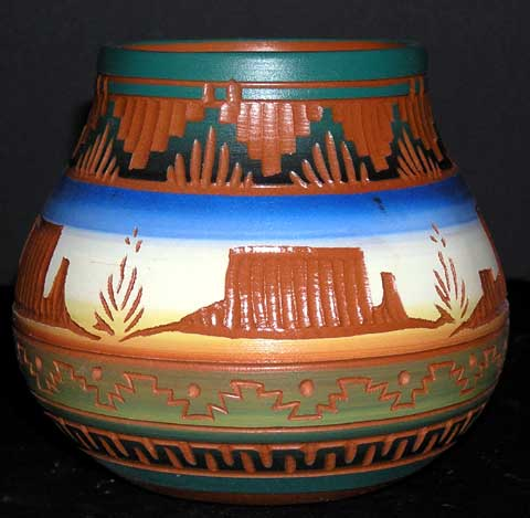 4.5 inch Navajo Etched Desert Monuments Squash Vase