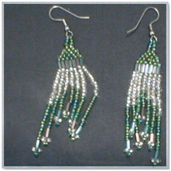 Green and White Beaded Earrings