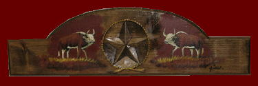 30 inch Carved & Painted Western Star with cowboy Rug Hanger