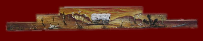 30 inch Carved & Painted Wagon scene Rug Hanger