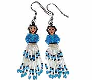 Blue Beaded Navajo doll Earring