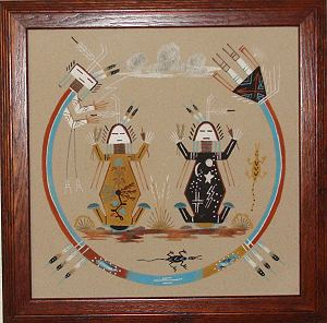 Framed Mother and Father Earth Sand Painting