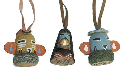Hand Carved Kachina Doll Head Ornaments