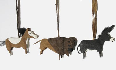 Hand Carved Animals of the Field Ornaments