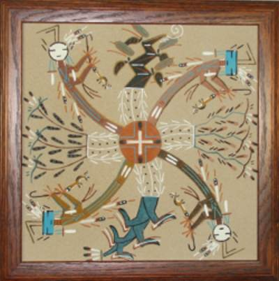 Framed Whirling YEI Sand Painting