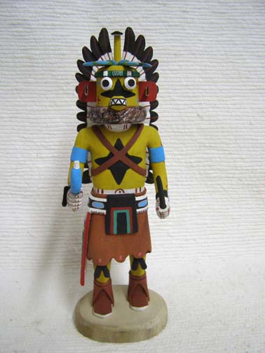 Hopi Carved Yellow Ahote (Sikyahote) Hunter Katsina Doll by Conrad Torivio