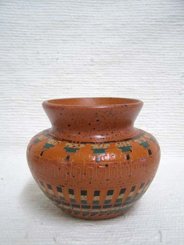 Native American Navajo Etched Red Clay Pot by Elaine Begay