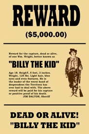 Billy The Kid Wamted Poster print