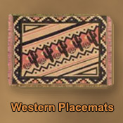 Southwestern, rustic, Santa Fe style placemats mexican blankets, throws and Sarapes in southwest designs that are great decorative accessories for your southwestern or rustic home decor.