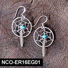 Navajo Dream Catcher Silver & Turquoise Earrings