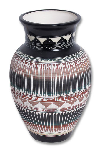 Navajo Hand-Etched Feather Pot
