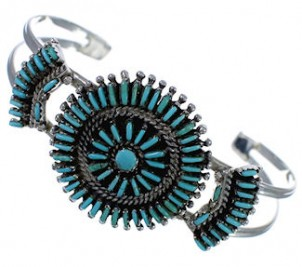Sterling Silver Turquoise Needlepoint Cuff Bracelet