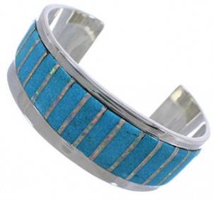 Navajo Turquoise Opal Inlay Sterling Silver Cuff Bracelet