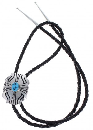 Navajo Thomas Singer Silver And Sleeping Beauty Turquoise Bolo Tie