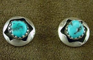 Navajo Silver, Turquoise Post Earrings