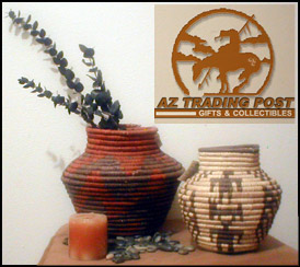 Southwestern and Native American Indian Design Vase and Cobra Baskets
