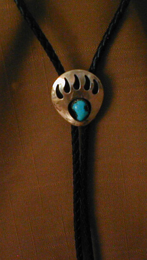 silver and Turquoise bear paw bolo tie