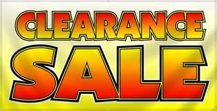Clearance Sale Some Items Reduced 20% - 50% Off Retail