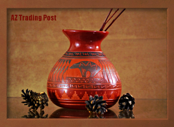 Native American Navajo Etched Red Bear Clay Pot by Cindy Lee