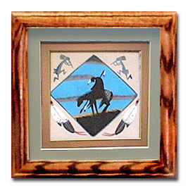 Navajo Framed and Matted End Of Trail Sand Painting